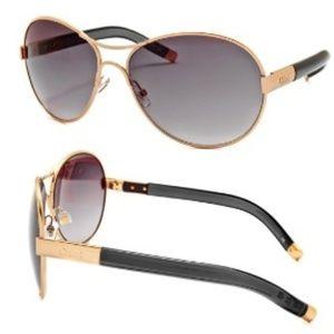 Chloe Women Square Round Sunglasses Blue Gold NEW